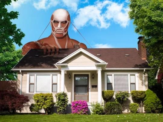 The Attack on Titan Colossal Titan Lawn Ornament.