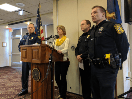 Police from Central Michigan University give an update