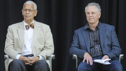 Southern Poverty Law Center President Emeritus Julian Bond, left, and founder Morris Dees at the SPLC's 40th Anniversary Celebration on Saturday April 30, 2011 at the Civil Rights Memorial Center in Montgomery, Ala.(Montgomery Advertiser, Mickey Welsh)