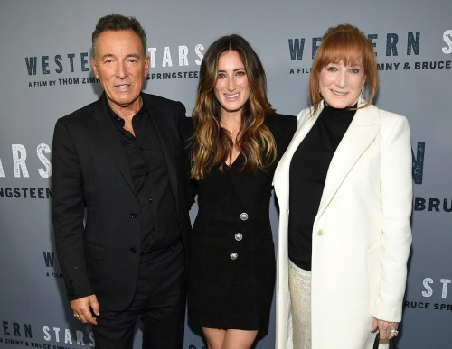 "Singer-songwriter and co-director Bruce Springsteen, daughter Jessica Springsteen and wife Patti Scialfa attend the special screening of ""Western Stars"" at New York's Metrograph on Wednesday."
