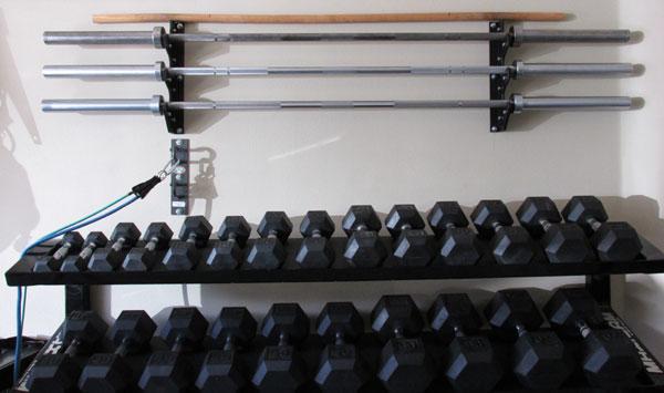 Space saving diy barbell rack bar storage for Homemade weight rack plans