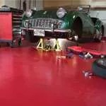 Red Epoxy Solid Garage Floor