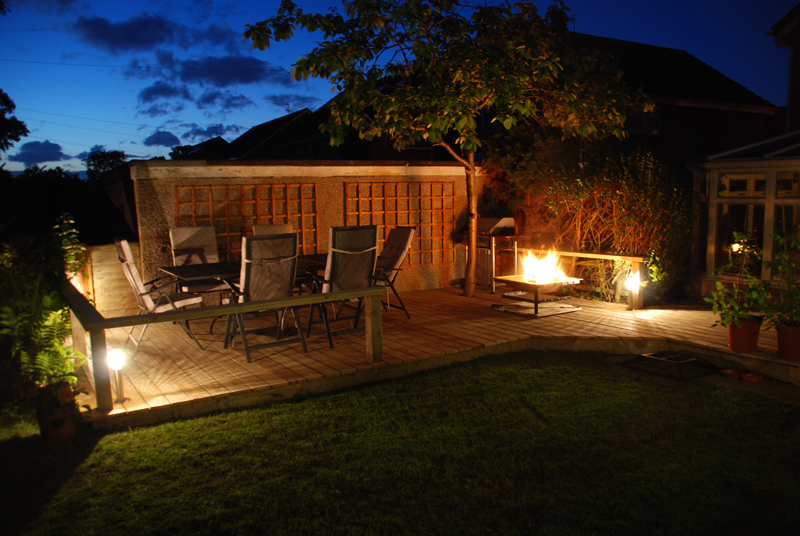 Amazing Decking With Garden Lights And Fire Pit