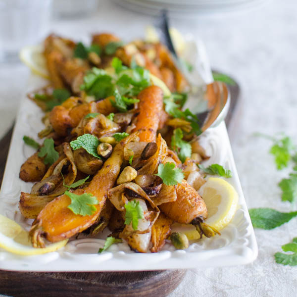 Roasted Spiced Carrots with Pistachios | Garlic + Zest