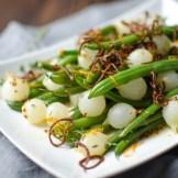 Orange Dijon Haricots Vert with Crispy Shallots | Garlic + Zest
