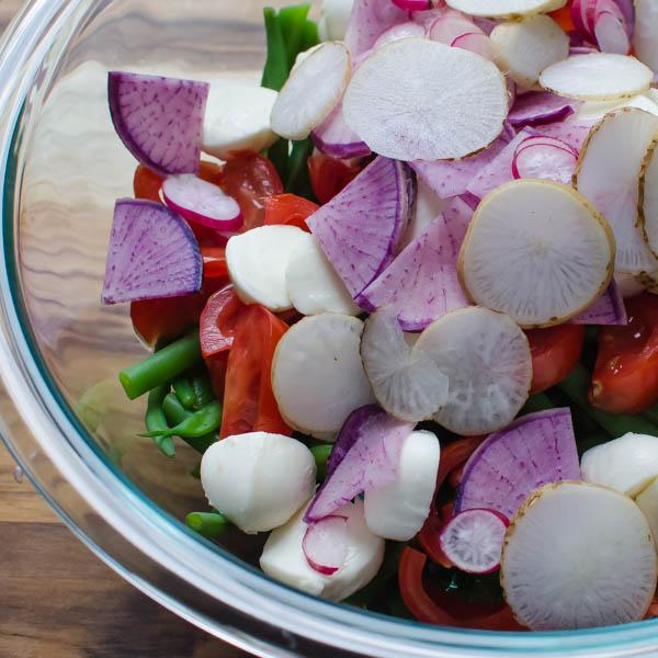 Tangy Green Bean Ciliegine Salad | Garlic + Zest