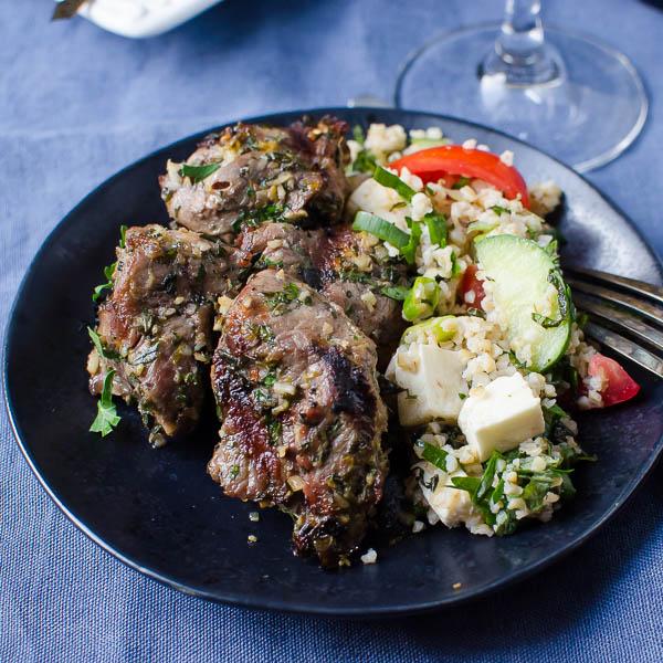 Grilled Herb-Crusted Lamb Kebabs | Garlic + Zest