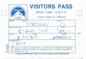 4) Paramount Visitors Pass- Cheers Recording Session  8-13-82