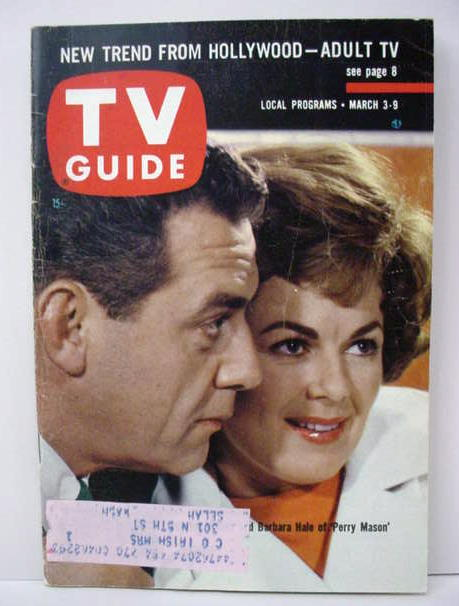 vintage original TV GUIDE magazines for sale from Gasoline Alley     3 3 62 PERRY MASON Raymond Burr   Barbara Hale