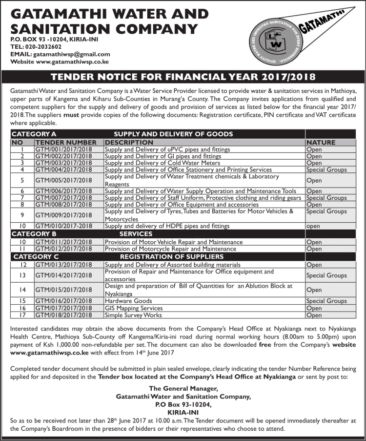 TENDER NOTICE FOR FINANCIAL YEAR 2017-2018-1