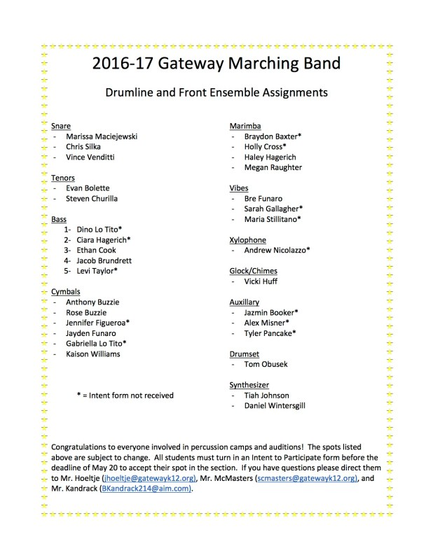 Percussion Assignments