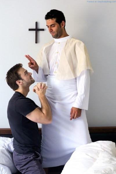 Religious Man Mike Stallone Takes The Uncut Jock Cock Of Handsome Gabriel Clark 1