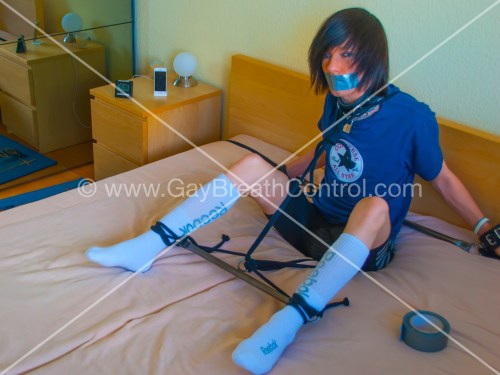 EmoBCSMSlave Tied at Metal Rod and Duct Taped Breath Controlled