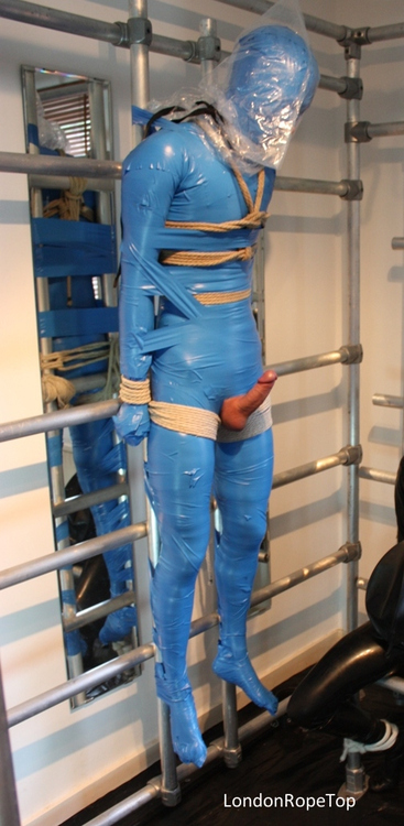 Blue Bagged Breath Controlled Mummified Guy