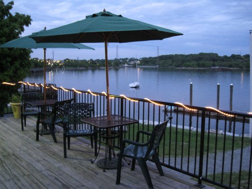 The deck at the Community Boating Center overlooking Providence Harbor