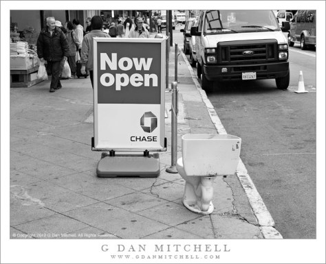 "San Francisco Photograph - An abandoned toilet stands next to a Chase Bank ""Now Open"" sign in the Chinatown district of San Francisco."