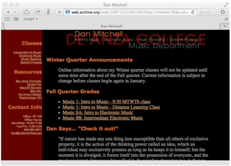Dan Mitchell 1977 Website Screenshot