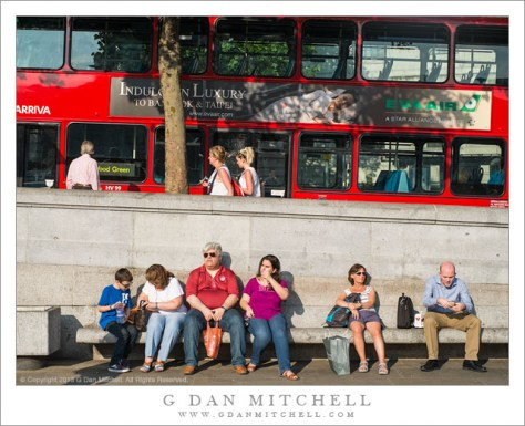 Red Bus, People on Bench