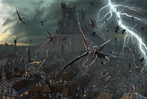 Battaglia di Imp contro Pseudodraghi nei cieli e nei vicoli di Korvosa