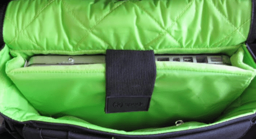 Speck PortPack Shoulder Bag interior with notebook