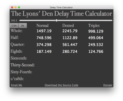 Free Standalone Delay Time Calculator (Mac and Windows) - Gearslutz