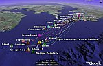 Route du Rhum sailing race in Google Earth