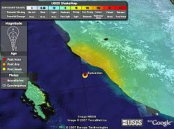 Earthquake Shakemap in Google Earth