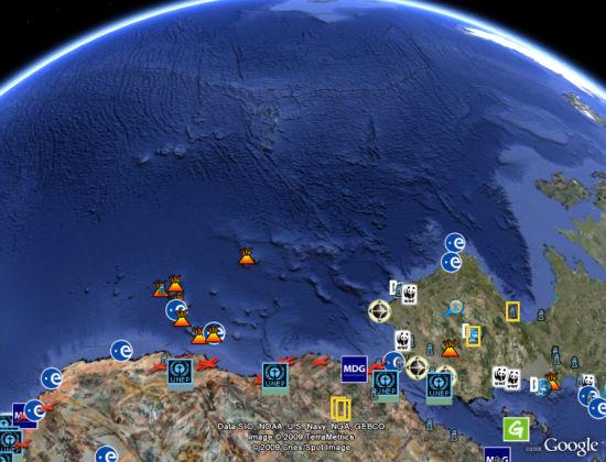 Google Earth showing little data for oceans