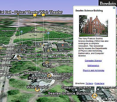 Bowdoin College Map in Google Earth