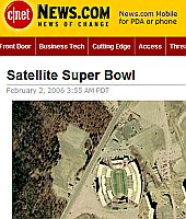 CNET superbowl contest in Google Earth