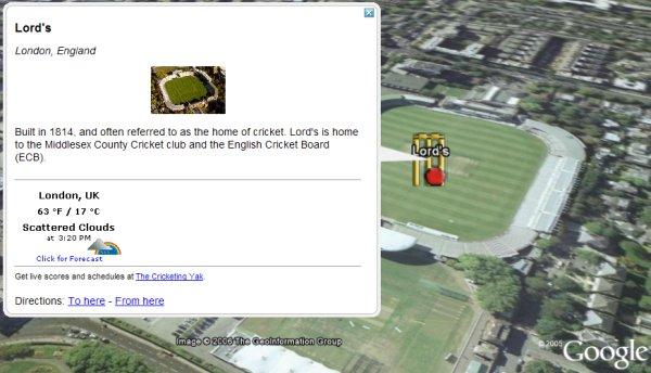 International Cricket Venues in Google Earth