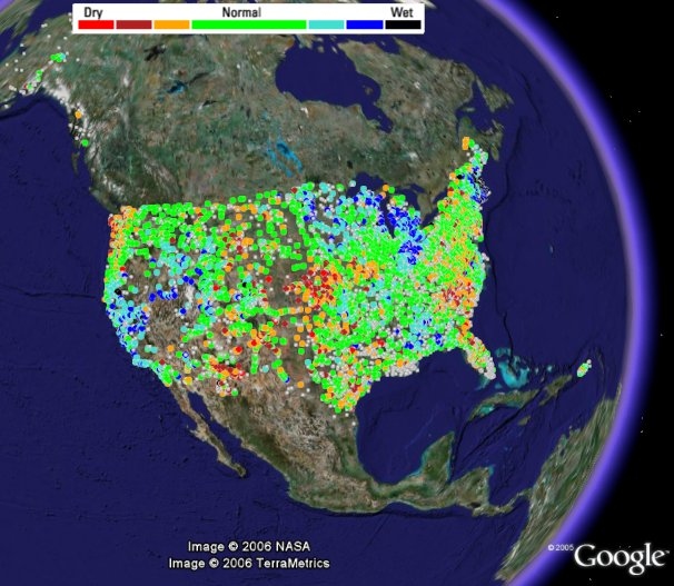 USGS WaterWatch sensor net in Google Earth