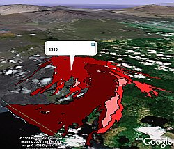 Lava Flows of  Mauna Loa in Google Earth