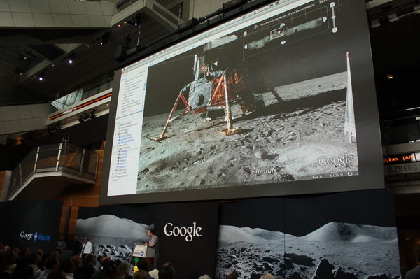 Google announcement of Moon in Google Earth at the Newseum