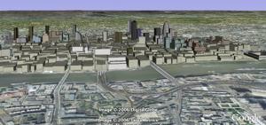 Eastern London 3D buildings in Google Earth
