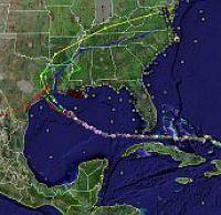 Hurricane Rita track in Google Earth