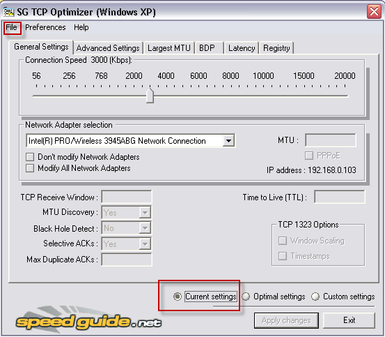 SpeedGuide TCP Optimizer - Optimiser votre connexion Internet
