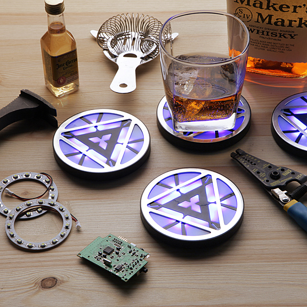 MARVEL Iron Man Arc Reactor Light-Up Coasters