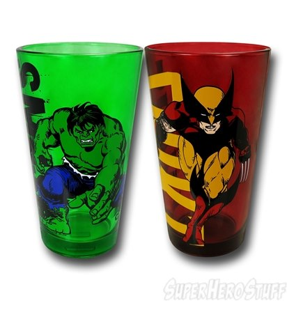 Hulk and Wolverine Pint Glasses - Geek Decor