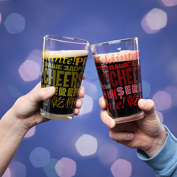 Multilingual Pint Glasses Toast - Geek Decor