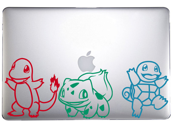 Starter Pokemon Decals -- Geek Decor