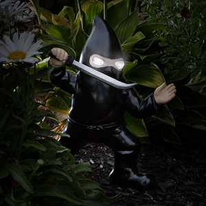Evil Ninja Lawn Gnome Lit-up Eyes -- Geek Decor