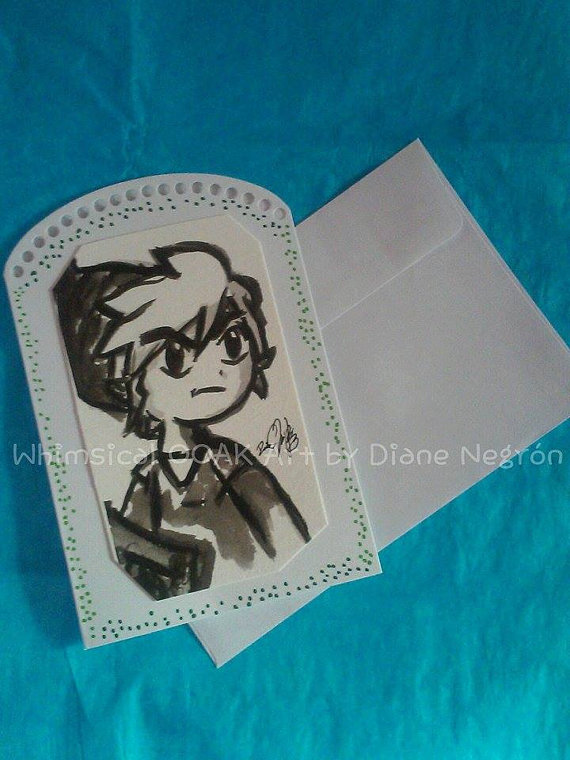 Whimsical Ooak Art - Zelda Greeting Card - Geek Decor