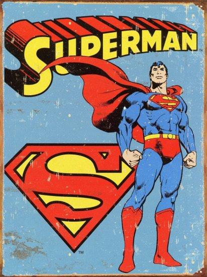 Superman Distressed Retro Vintage Tin Sign - Geek Decor
