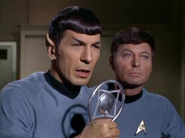 Spock speaking into Microphone