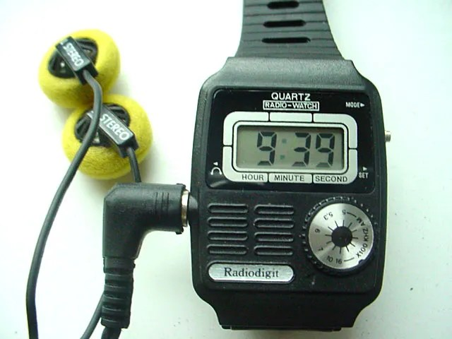 Radio watches also began to appear in these early days of miniaturization, tiny AM or FM radio tuners inserted into the body of a watch.