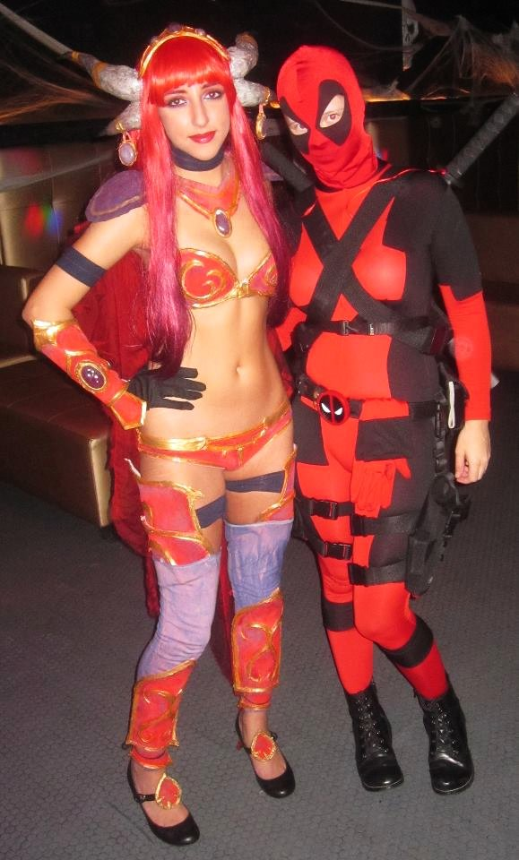 Aimee as Alexstrasza the Lifebinder and Amanda as Deadpool