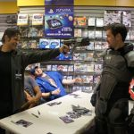 Mark Meer with fan in Commander Shepard costume at the Edmonton launch party