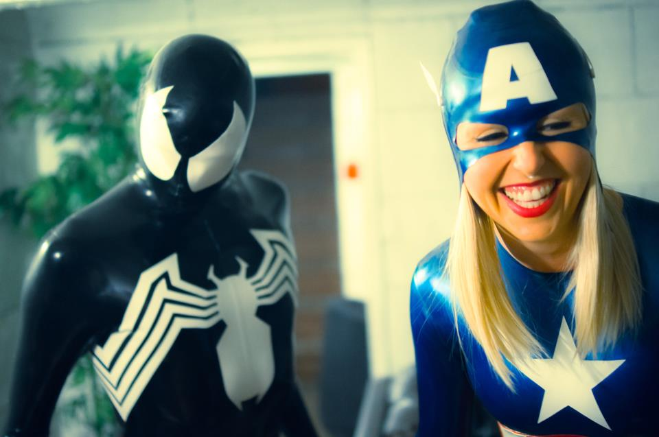 Chris and friend as Spiderman Symbiote and Lady Captain America