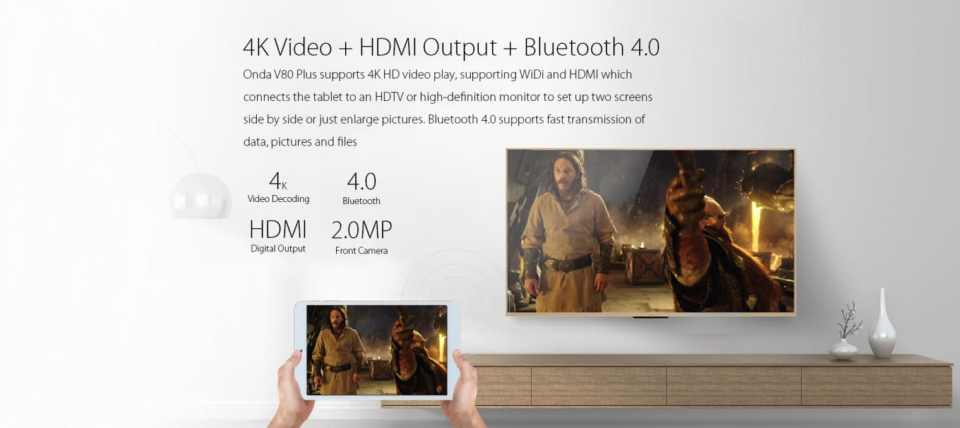 Onda V80 Plus 4k HDMI Output